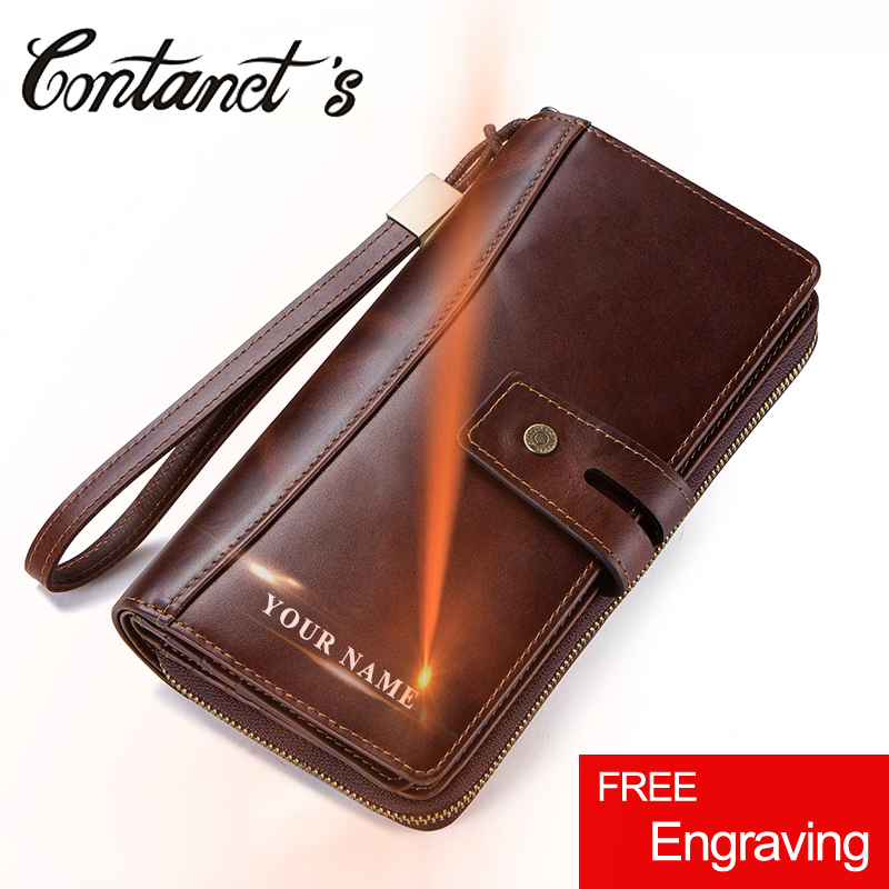 Men Clutch Wallets Casual Genuine Leather Wallet Long Style Zipper Coin Purse With Card Holder Large Capacity For Cell phones luxury genuine leather men wallets large capacity cowhide men clutch phone bag purse zipper vintage long wallet casual hand bags