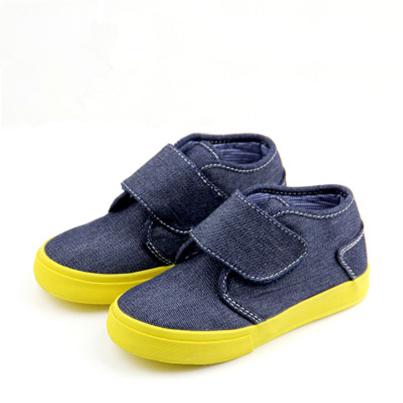 High Quality Kids Casual Shoes 2016 New Canvas Board Shoes Autumn And Winter Rubber Sneakers White/Denim Blue Children Footwear blue and white canvas anti static shoes esd clean shoes pharmaceutical shoes work shoes add cotton