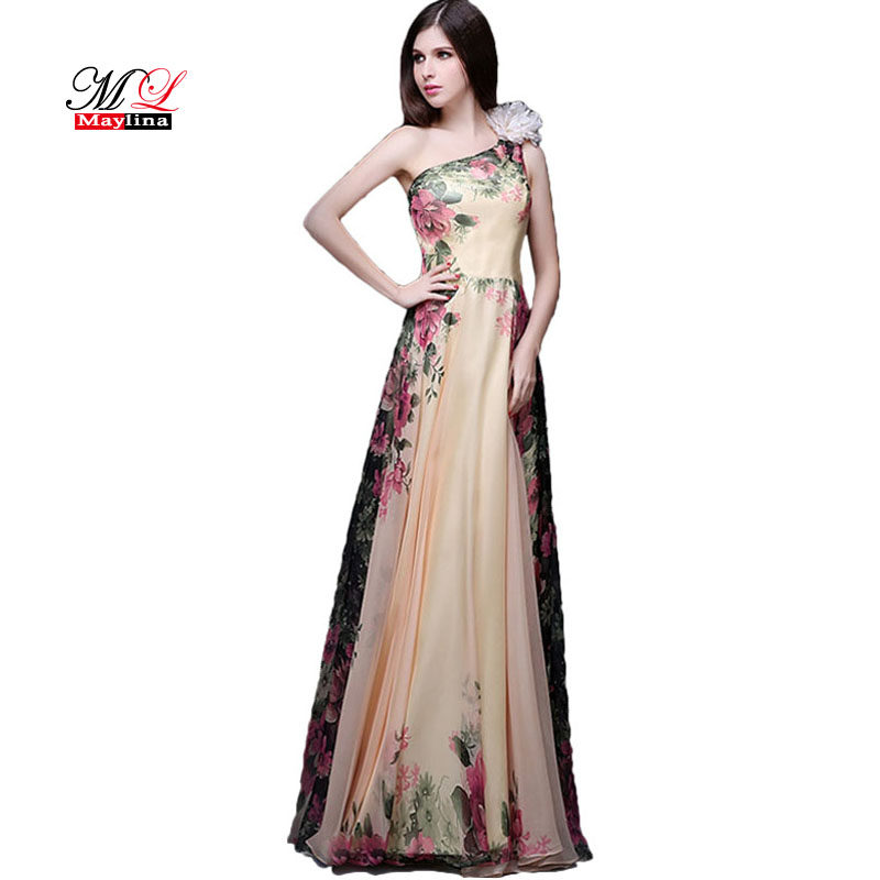 MLinina One Shoulder Long Evening Formal Dress Women Elegant Flower  Floor-Length A-Line c048fe421f35