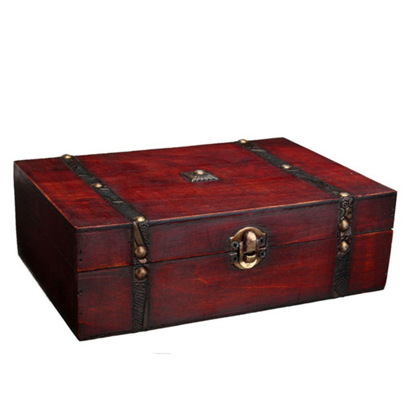 Jewelry Retro Metal Storage Lock Wooden Box Chinese
