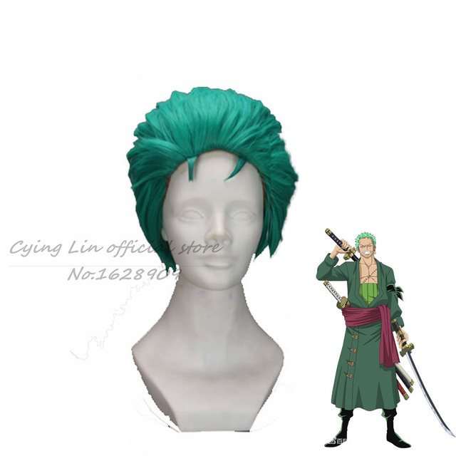 Short layered ONE PIECE RORONOA ZORO Green Anime Cosplay wig +wig cap free shipping perruque synthetic boy peruca cos