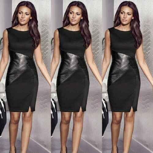 2XL automne grande taille robe de soirée femmes Faux cuir épissure OL noir robe crayon O cou sans manches élégant Slim moulante robe 2019