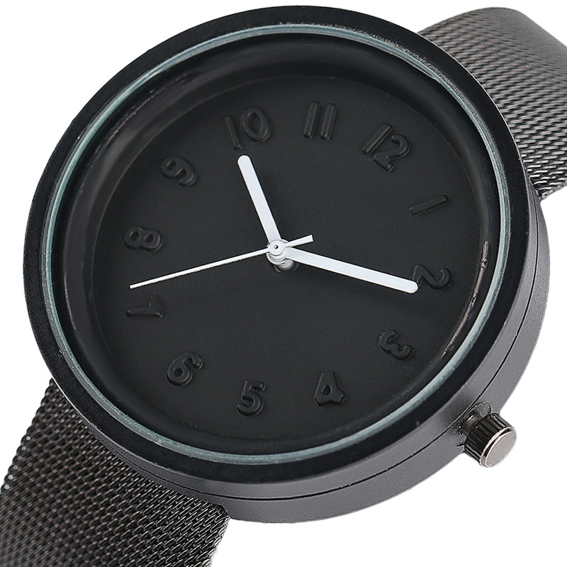 Minimalist Style Quartz Watch Brief Numbers Round Unisex Wristwatch High Quality Stainless Steel Mesh Band Men Women Clock 2017 wholesale price high quality fashion high quality stainless steel watch band straps bracelet watchband for fitbit charge 2 watch