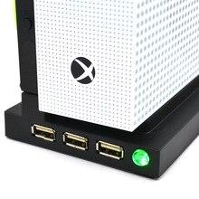 Pionowy stojak z podwójnym wentylatorem chłodzącym do konsoli Xbox one S/Slim 3 porty USB Hub Vertial podstawa chłodząca/stacja dokująca HUB