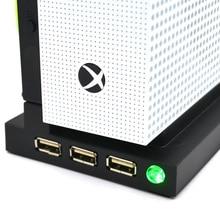 Soporte Vertical con ventilador de refrigeración Dual para Xbox one S, consola de juegos delgada, 3 puertos USB, Base de refrigeración Vertical, Hub