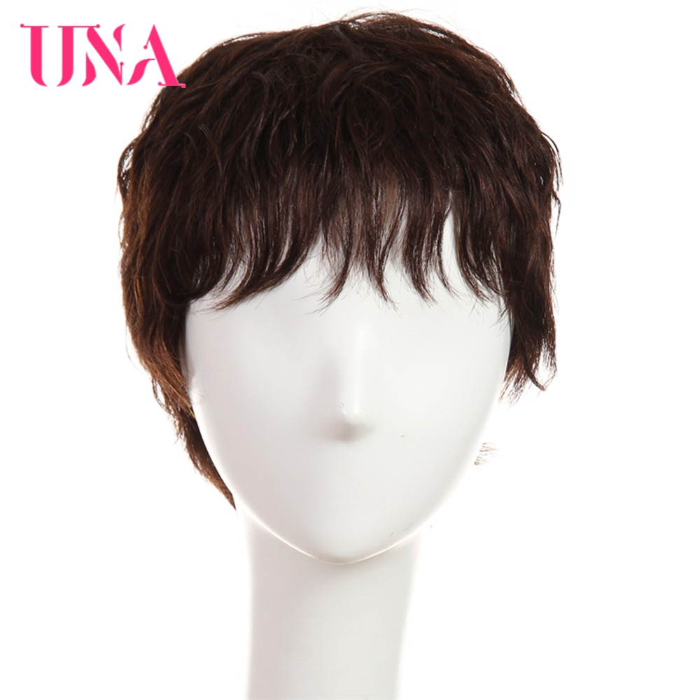 UNA Human Hair Wigs #6383 #2/33 Non-Remy Human Hair 150% Density Brazilian Straight Human Hair Wigs Machine Brazilian Hair Wigs