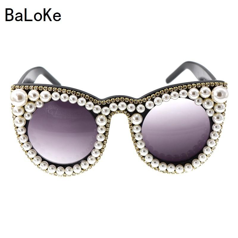 Fashion luxury rhinestones cat eye sunglasses women brand designer oversized cat eye sunglasses pearl ladies party black glasses