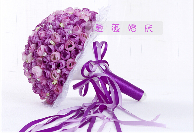 2017 Nueva Arival Flores Barato Púrpura Romántico Nupcial Hecho A Mano Rosa Artificial de La Boda de dama de Honor/Dama de Honor Ramos