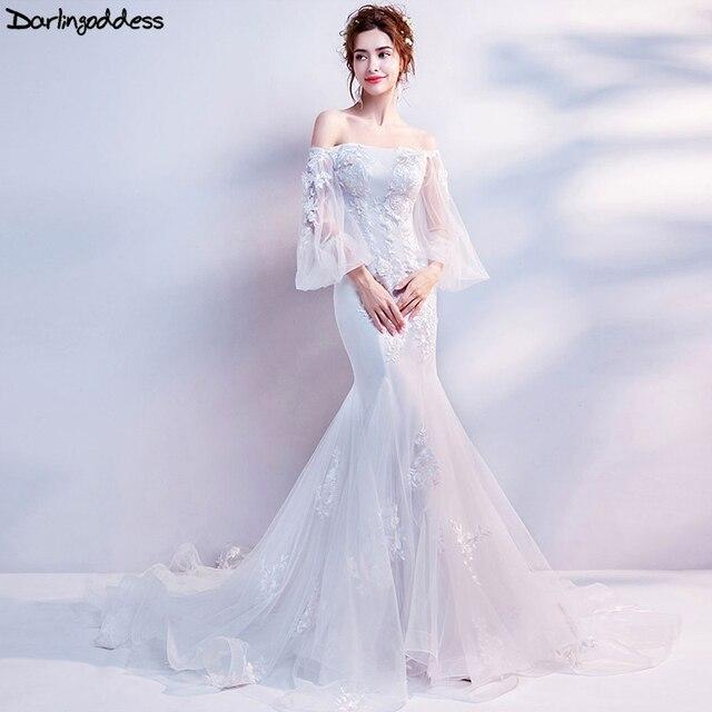 94a25c377ef Darlingoddess Elegant Lace Mermaid Wedding Dress 2018 Vintage Appliques  Court Train Bridal Dress Real Photo Vestido