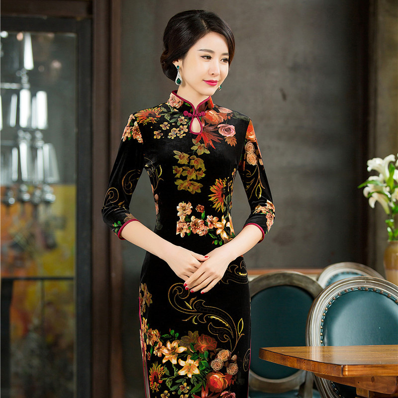 Vintage Chinese Women s Long Velvet Dress Cheongsam QiPao Evening Dress S 4XL Free shipping