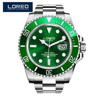 LOREO casual fashion hollow mens watches luxury brand luminous 200M waterproof Rotating Bezel Professional fashion Diver watch