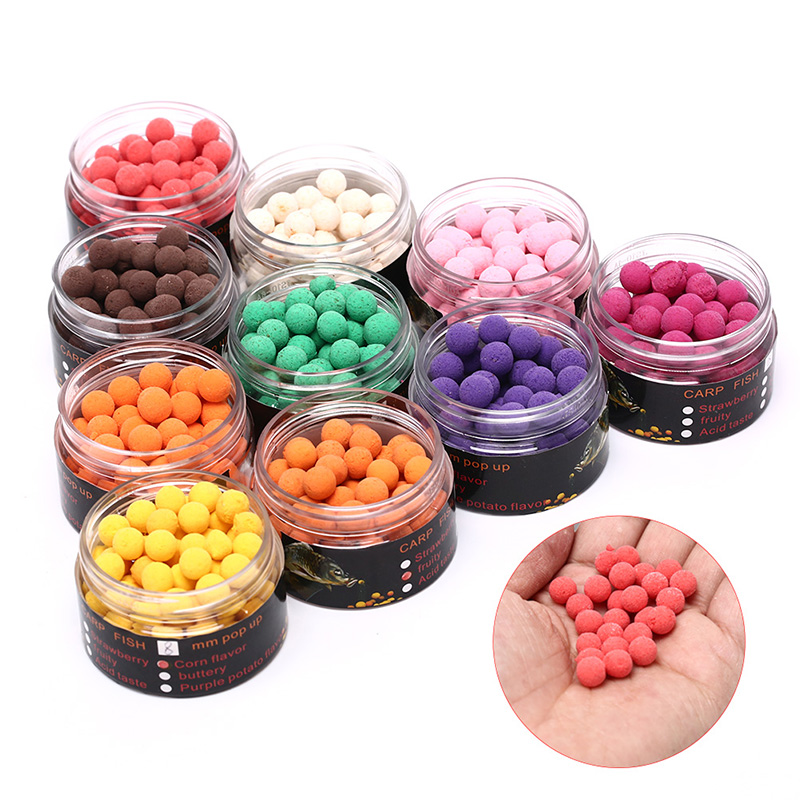80pcs/box 8mm Smell Ups Carp Fishing Bait Boilies Floating Ball Beads Feeder image