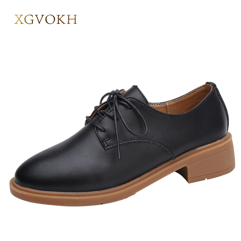 XGVOKH Woman Solid Leather British Style Oxford Ladies Business Shoes Casual Flats Lace-Up Spring Autumn Women Shoes chilenxas 2017 leather men casual shoes style flats breathable height increasing new fashion lace up solid spring autumn light
