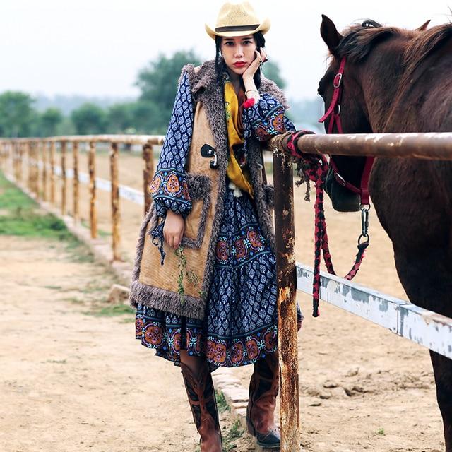 MX131 New Arrival Autumn and Winter loose long vintage horn button thick faux mongolian fur suede vest coat women