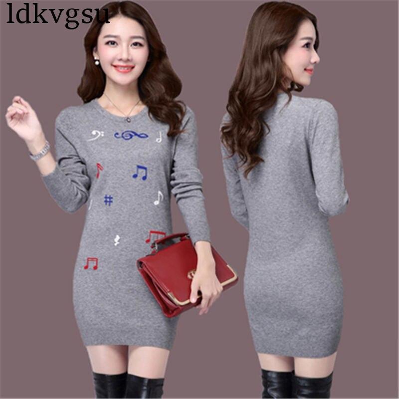 2018 nouvelle grande taille 4XL automne hiver longue Section pull femmes pull Slim tricoté pull coréen impression robe V111 - 2