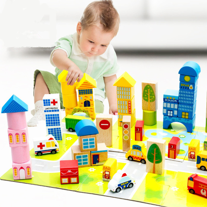 62PCS Pack Educational Wooden Building Blocks Bricks City Traffic  Kids Educational Toys Wooden Building Toys JM68 62pcs colored wooden building blocks city traffic scene blocks kids educational toys child diy toys jm19