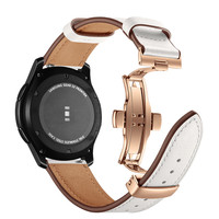 Luxury Genuine Leather Strap For Samsung Gear S3 Classic / Frontier Rose Gold Metal Butterfly Buckle Bracelet Straps Watch Band
