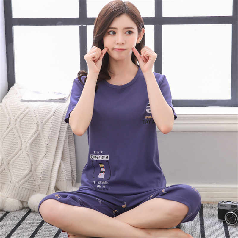Pyjamas nữ hai mảnh 2019 Xuân Hè mỏng Plus kích thước ban đêm phù hợp với in bông nữ nhà quần áo Cô Gái Pyjama Set đồ Ngủ