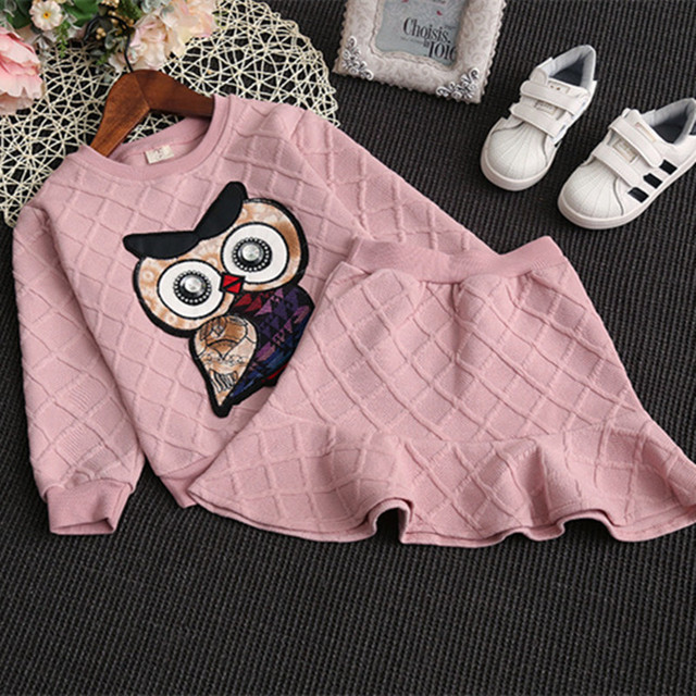 Girls Clothing Set Spring Long Sleeve Shirt+ Rhinestone Owl A-line Skirts Kids Clothes Set children Clothing Suit Baby kids