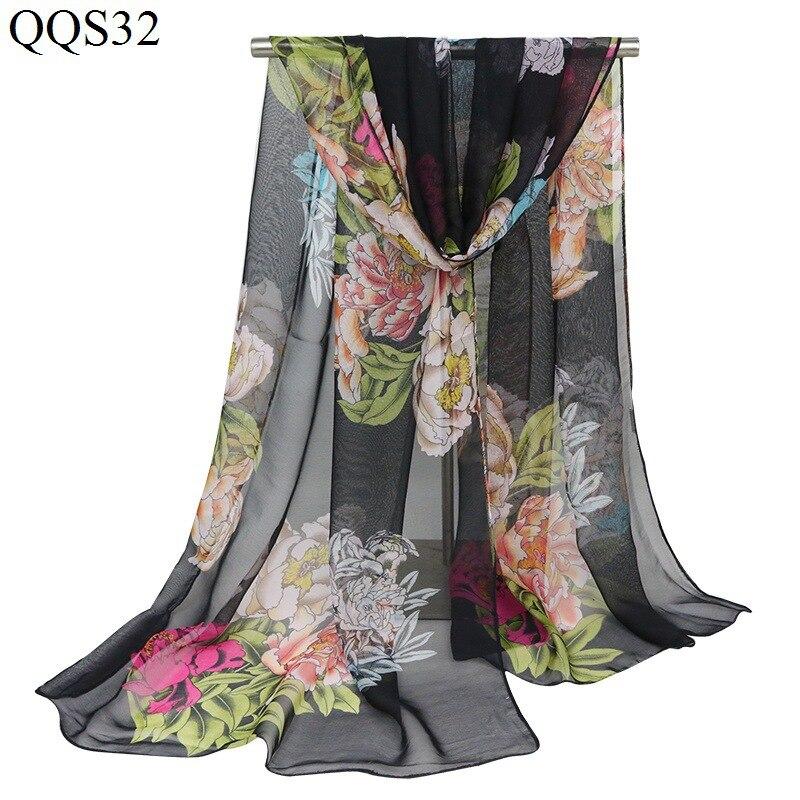 F&U Polyester Long Big Flora Print Soft   Scarf     Wrap   Luxury Shawl Special Craft Chiffon Touch Feeling Fashion & Warm For Women