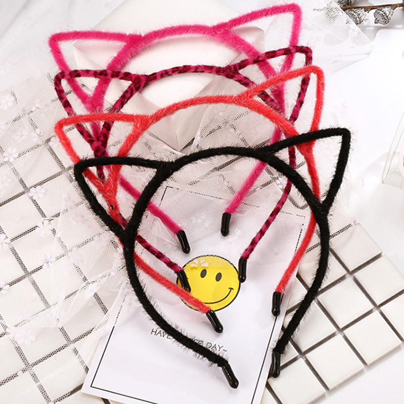 2017 Winter Cute Faux Fur Cover Leopard Cat Ears Headband For Girls Hair Ornament Headwear Hairband Fashion Kid Hair Accessories fluffy cosplay halloween party cat faux fox fur ears costume hairpin hairband black white purple leopard black