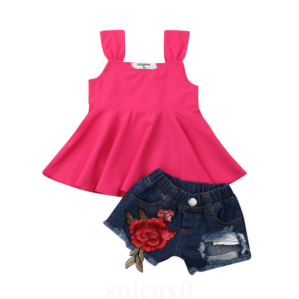 76844705a304a Summer Fashion Infant Baby Girl Clothes Sets Solid T-shirt Vest Tops+Denim  Shorts Pants Summer Outfit Clothes ~ Free Shipping July 2019