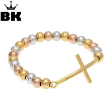 Stainless Steel Gold Color Cross Charm Bracelet For Men Or Women Beaded Bracelets 2018 Hot Trendy Jewelry(China)