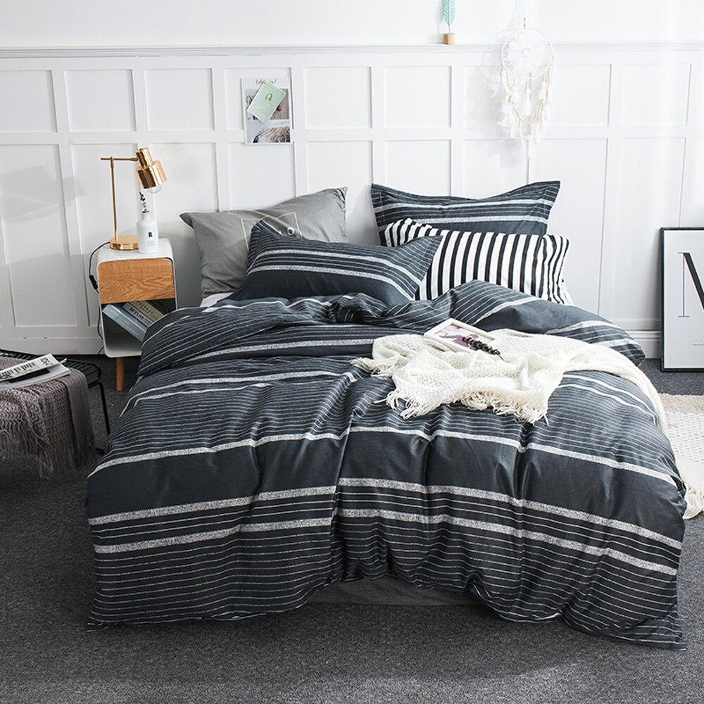 2018 Geometric Lines Grey Print Bedding Set Cotton Bedlinens Flat