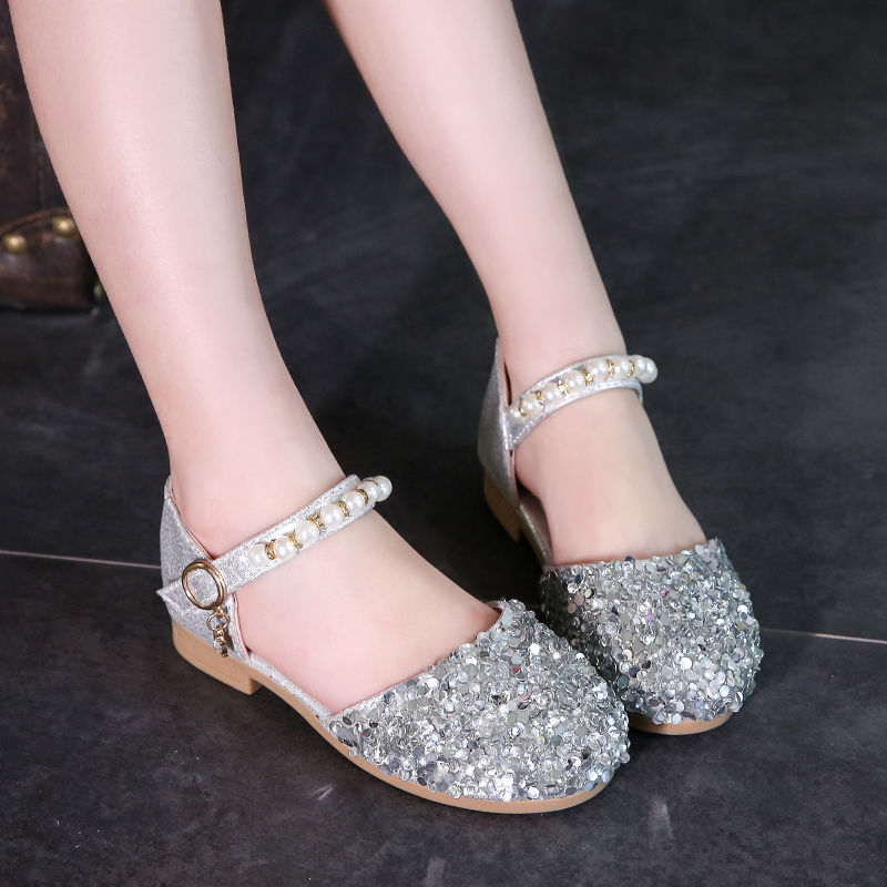 1 2 3 4 5 6 7 8 9 10 12 Years Flower Children Little Girl Summer Sandals Shoes For Girls Gold Silver Beading Sequins Dance Shoes