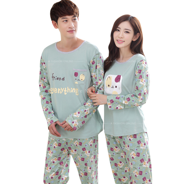Sale!Autumn Long Sleeve Cotton Cartoon Pajamas Sets Women s Sleepwear Cute  Loungewear Sexy Men s Pajamas Couples Homewear Mujer d663a77d6