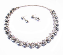 Grey Faux Pearl and Rhinestone Crystal Wedding Bridal Necklace Earrings Sets