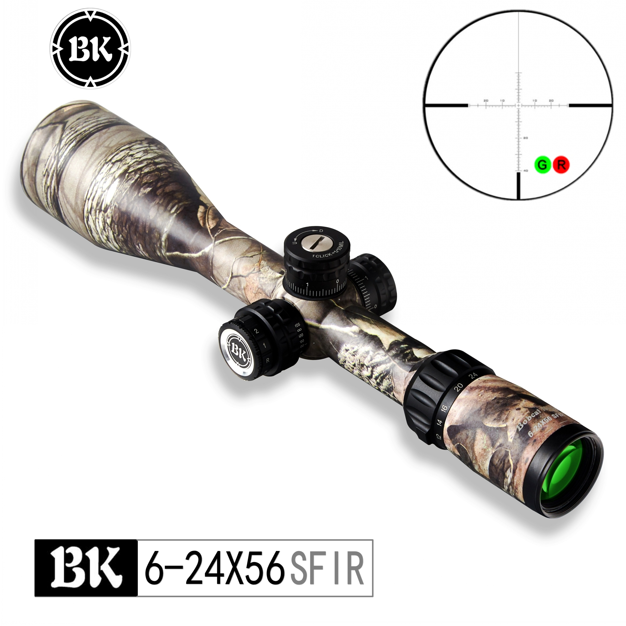 Bobcat King Optics BK 6-24X56 SFIR Camouflage Appearance Tactical Optical Sight Sniper Hunting Rifle  Reflex Holographic Aiming
