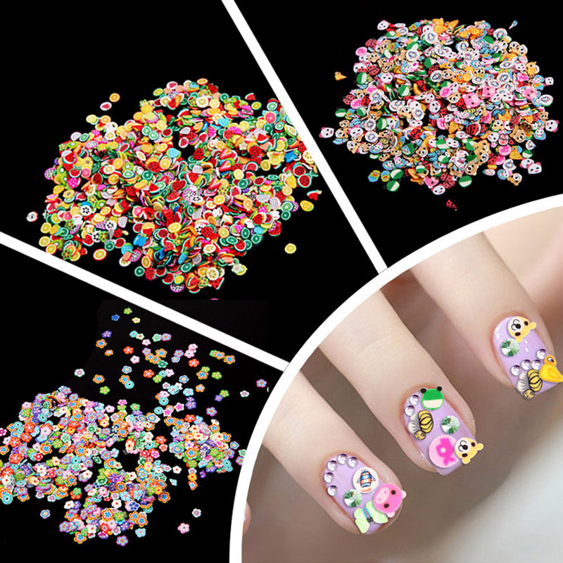 1000 PCS 3 Style DIY 3D Nail Art Stickers Decals Decorations Fruit Flowers Animals Nails Art Rhinestone Wheel Nail Tips professional 1000pcs lot fimo clay 3 series fruit flowers animals diy 3d nail art decorations nails art sticker design