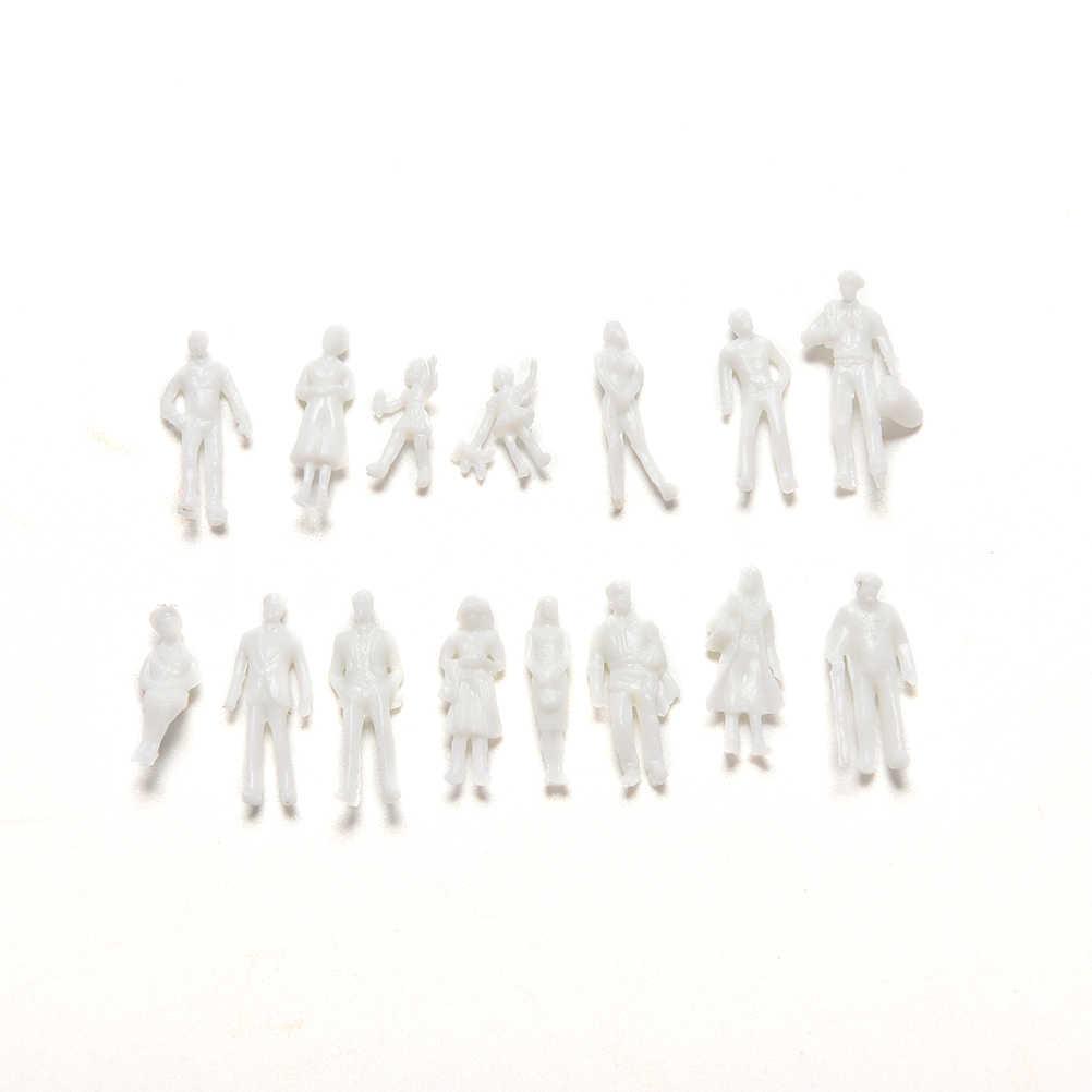 100 sztuk/zestaw figurka diy 1:100 skala Mini niepomalowane dla pasażerów pociągu zabawki biały Model ludzi