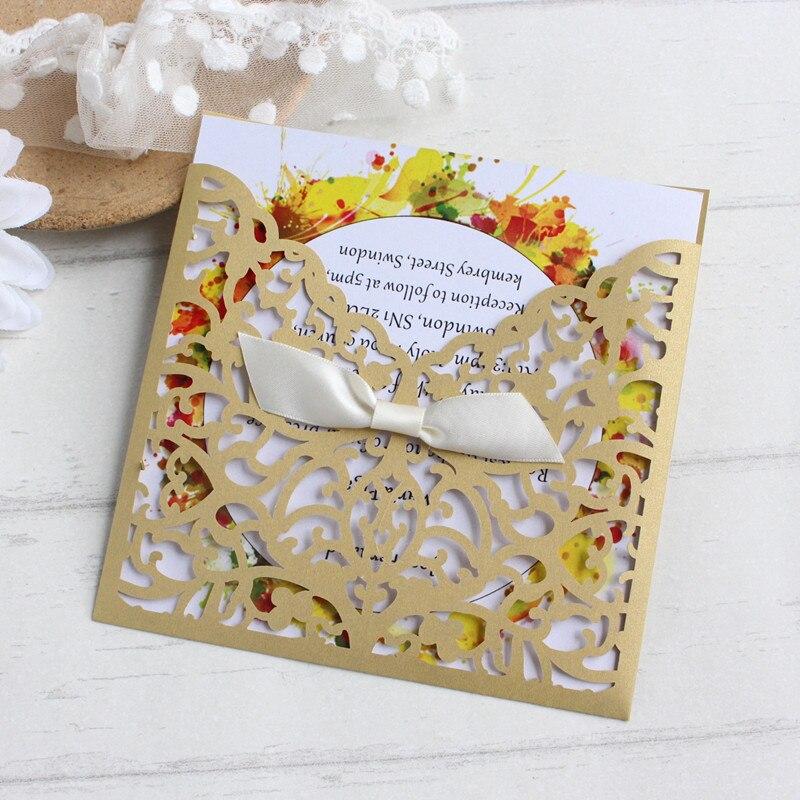 Gold Customized Wedding Invitation Lace Laser Cut Pocket