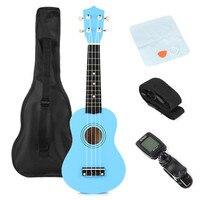 21 Blue Soprano Basswood Ukulele Uke Hawaii Bass Guitar Guitarra Musical Instruments Set Kits Tuner Strings