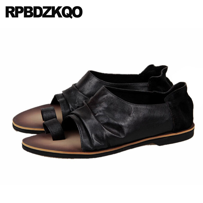 2019 outdoor brown high quality men sandals leather summer designer flat shoes genuine native black breathable toe loop luxury