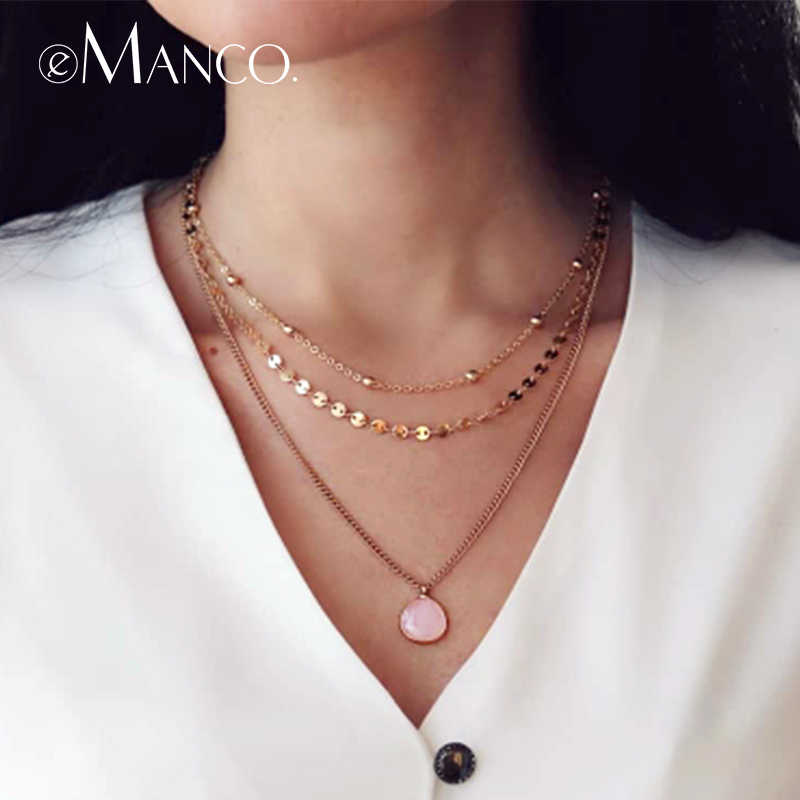 e-Manco Classic Three Layers Necklaces For Women Luxury Choker Necklace Multilayered Women Necklace Hot Gifts for Friendship