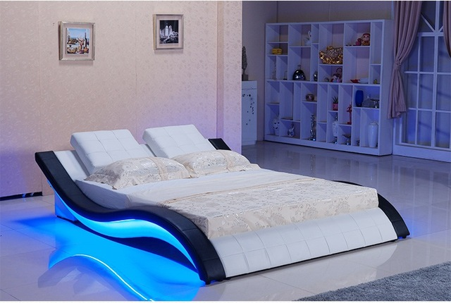 Modern Real Genuine Leather Bed Soft Double King Queen Size Bedroom With Sound System For Iphone Ipad Led Light
