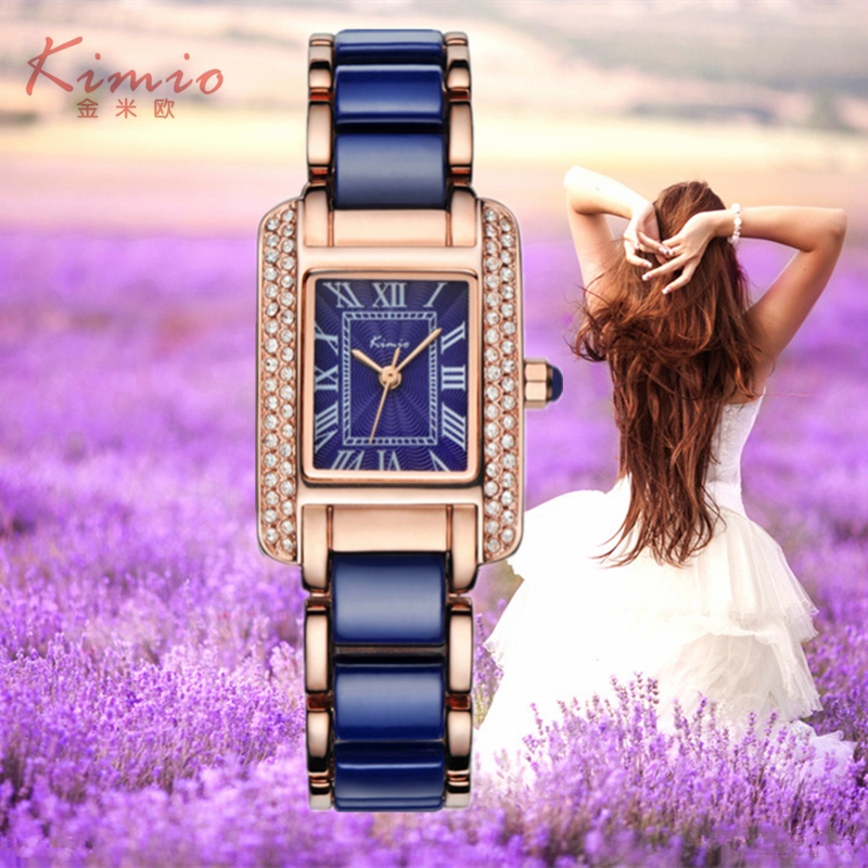 2016 New KIMIO Luxury Jewelry Ladies Quartz Watch Dress Fashion Casual Women Watches Roman Numerals Rhinestone Bracelets Watches