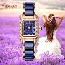 2017 Reales Nueva Joyería De Lujo de Las Señoras Reloj de Cuarzo de Kimio Vestido de Moda Casual Mujer Relojes Números Romanos Rhinestone Pulseras