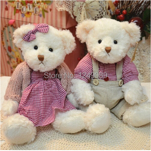 30 cm 2 pieces Couple Teddy Bear With Cloth Soft Plush Toy Chrismas Gift For Kid