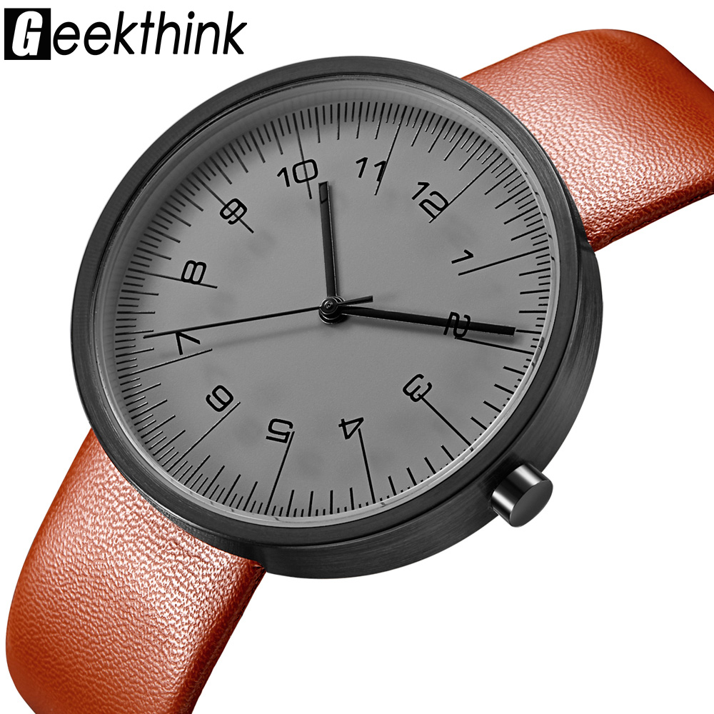 Geekthink top luxury brand quartz watch men casual fashion leather strap japan quartz watch classic creative