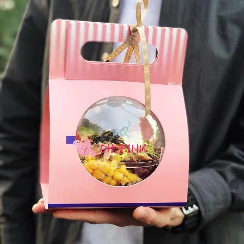Мяч шаровидным специальная мышь салат, торт печенье конфеты контейнер для еды на вынос контейнер формы с держатель для бумаги и вилкой 10/50/100 шт