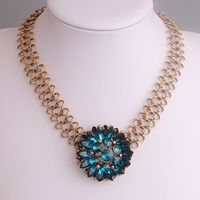 Clearance Sale Hot Women Designer Fashion Jc Crystal Flower Necklaces Bib Chunky Statement Fashion Jewelry PBN