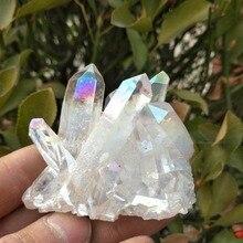 Hot!!! 80-90g natural white angel aura crystal cluster electroplating Titanium coating quartz cluster stone Healing