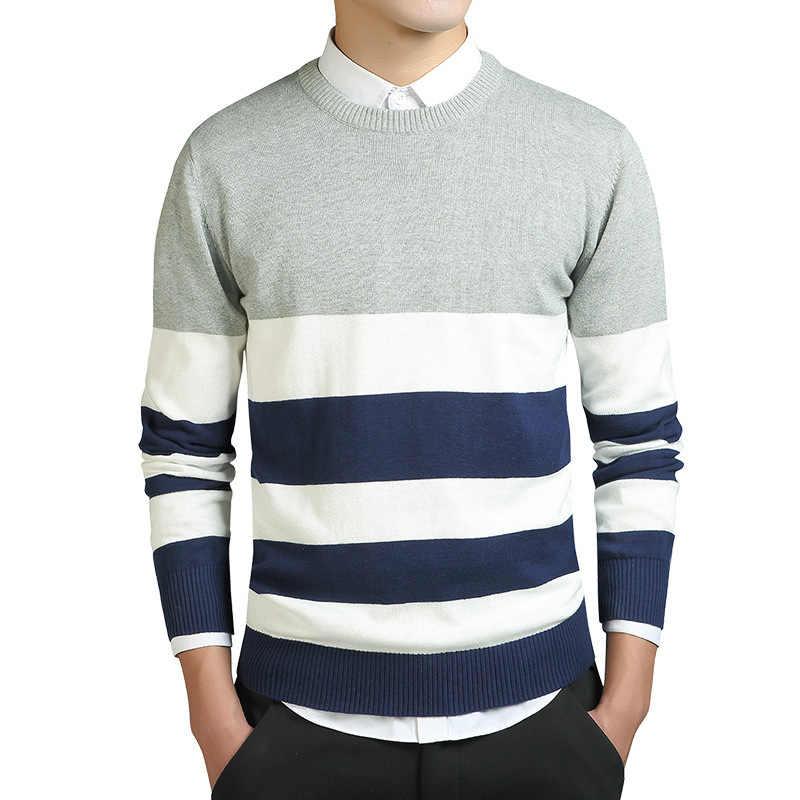Pullover Männer Herbst Und Winter 100% Baumwolle Runde Kragen Gestreiften Pullover Hight Qualität Mode Rot Grau Slim Fit Pullover Männlich