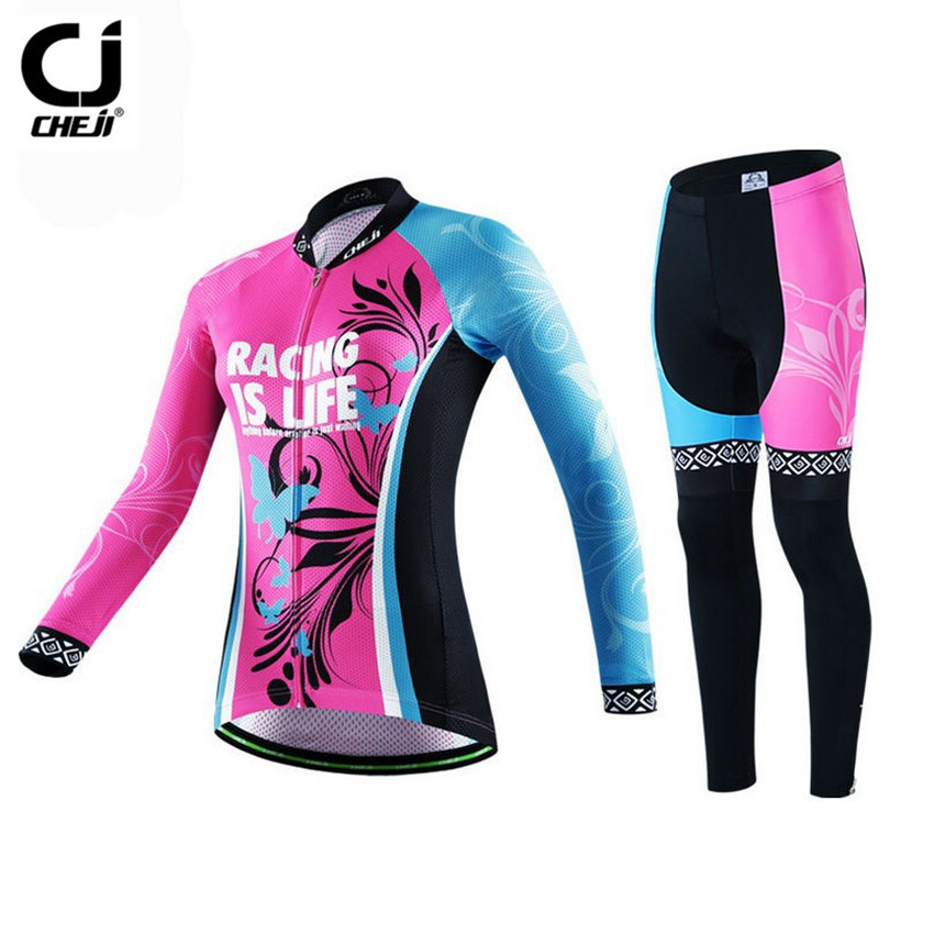 CHEJI Women Long Sleeve Cycling Clothing Red Bicycle Cycling Jersey Set Bike Quick-dry Roupa Ciclismo Riding Maillot Sportswear cheji women mtb cycling jersey sets bike outdoor sportswear maillot clothing quick dry cycling clothing long sleeve jersey