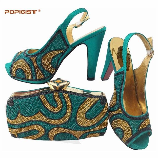 Teal colore Nigeriano Donne Scarpe e Set Borsa Italia Scarpe Da Sposa e  Borsa di Alta 70798d82f69