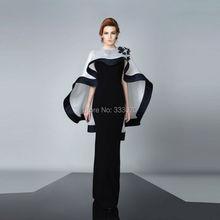 Mantel Schwarz und Weiß Couture Abendkleid mit Cape Lange Formale Partei-kleid abendkleider robe de soiree